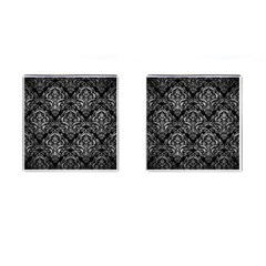 Damask1 Black Marble & Gray Metal 2 Cufflinks (square) by trendistuff