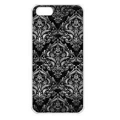 Damask1 Black Marble & Gray Metal 2 Apple Iphone 5 Seamless Case (white) by trendistuff