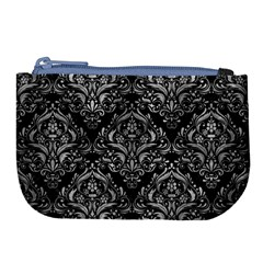 Damask1 Black Marble & Gray Metal 2 Large Coin Purse by trendistuff