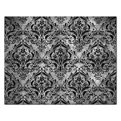 Damask1 Black Marble & Gray Metal 2 (r) Rectangular Jigsaw Puzzl by trendistuff