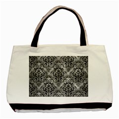 Damask1 Black Marble & Gray Metal 2 (r) Basic Tote Bag by trendistuff