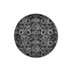 Damask2 Black Marble & Gray Metal 2 Magnet 3  (round) by trendistuff