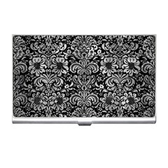 Damask2 Black Marble & Gray Metal 2 Business Card Holders by trendistuff