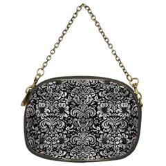 Damask2 Black Marble & Gray Metal 2 Chain Purses (two Sides)  by trendistuff