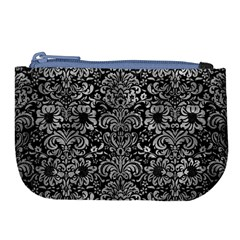 Damask2 Black Marble & Gray Metal 2 Large Coin Purse by trendistuff