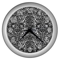 Damask2 Black Marble & Gray Metal 2 (r) Wall Clocks (silver)  by trendistuff