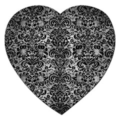 Damask2 Black Marble & Gray Metal 2 (r) Jigsaw Puzzle (heart) by trendistuff