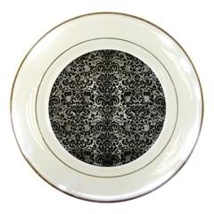 Damask2 Black Marble & Gray Metal 2 (r) Porcelain Plates by trendistuff