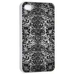 Damask2 Black Marble & Gray Metal 2 (r) Apple Iphone 4/4s Seamless Case (white) by trendistuff