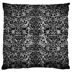 Damask2 Black Marble & Gray Metal 2 (r) Large Flano Cushion Case (one Side) by trendistuff