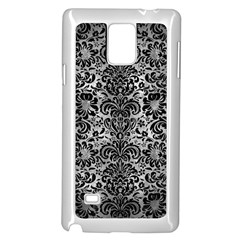 Damask2 Black Marble & Gray Metal 2 (r) Samsung Galaxy Note 4 Case (white) by trendistuff