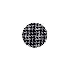Houndstooth1 Black Marble & Gray Metal 2 1  Mini Buttons