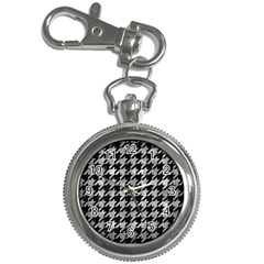 Houndstooth1 Black Marble & Gray Metal 2 Key Chain Watches by trendistuff