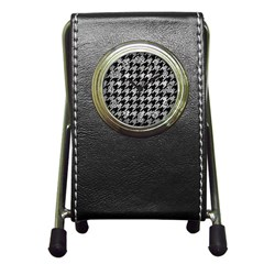 Houndstooth1 Black Marble & Gray Metal 2 Pen Holder Desk Clocks by trendistuff