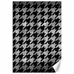 Houndstooth1 Black Marble & Gray Metal 2 Canvas 12  X 18   by trendistuff
