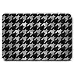 Houndstooth1 Black Marble & Gray Metal 2 Large Doormat  by trendistuff