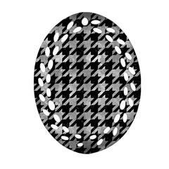 Houndstooth1 Black Marble & Gray Metal 2 Oval Filigree Ornament (two Sides)