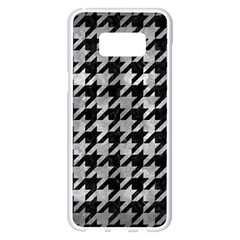 Houndstooth1 Black Marble & Gray Metal 2 Samsung Galaxy S8 Plus White Seamless Case by trendistuff