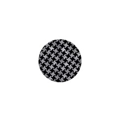 Houndstooth2 Black Marble & Gray Metal 2 1  Mini Buttons by trendistuff