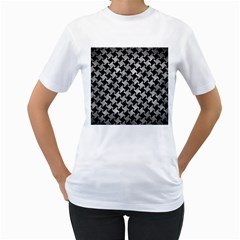 Houndstooth2 Black Marble & Gray Metal 2 Women s T Shirt (white) (two Sided) by trendistuff