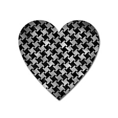 Houndstooth2 Black Marble & Gray Metal 2 Heart Magnet by trendistuff