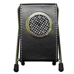 Houndstooth2 Black Marble & Gray Metal 2 Pen Holder Desk Clocks by trendistuff