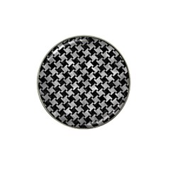 Houndstooth2 Black Marble & Gray Metal 2 Hat Clip Ball Marker (10 Pack) by trendistuff