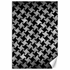 Houndstooth2 Black Marble & Gray Metal 2 Canvas 20  X 30   by trendistuff