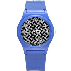 Houndstooth2 Black Marble & Gray Metal 2 Round Plastic Sport Watch (s) by trendistuff