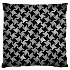 Houndstooth2 Black Marble & Gray Metal 2 Large Cushion Case (one Side)