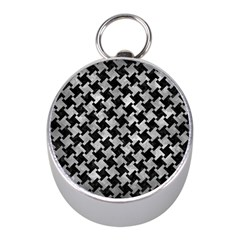 Houndstooth2 Black Marble & Gray Metal 2 Mini Silver Compasses by trendistuff