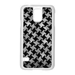 Houndstooth2 Black Marble & Gray Metal 2 Samsung Galaxy S5 Case (white) by trendistuff