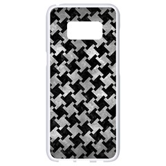 Houndstooth2 Black Marble & Gray Metal 2 Samsung Galaxy S8 White Seamless Case by trendistuff