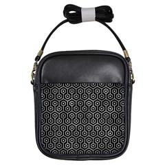 Hexagon1 Black Marble & Gray Metal 2 Girls Sling Bags by trendistuff