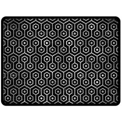 Hexagon1 Black Marble & Gray Metal 2 Fleece Blanket (large)