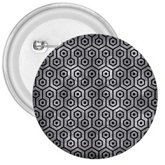 Hexagon1 Black Marble & Gray Metal 2 (r) 3  Buttons by trendistuff