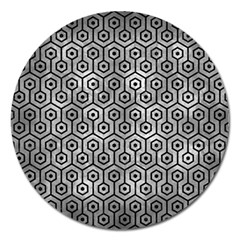Hexagon1 Black Marble & Gray Metal 2 (r) Magnet 5  (round) by trendistuff