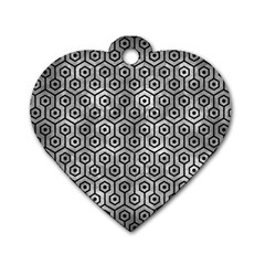 Hexagon1 Black Marble & Gray Metal 2 (r) Dog Tag Heart (one Side) by trendistuff