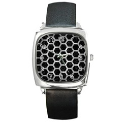 Hexagon2 Black Marble & Gray Metal 2 Square Metal Watch by trendistuff