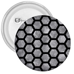 Hexagon2 Black Marble & Gray Metal 2 (r) 3  Buttons by trendistuff