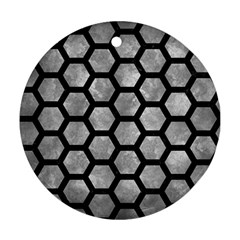 Hexagon2 Black Marble & Gray Metal 2 (r) Ornament (round) by trendistuff