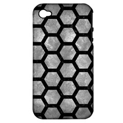 Hexagon2 Black Marble & Gray Metal 2 (r) Apple Iphone 4/4s Hardshell Case (pc+silicone) by trendistuff