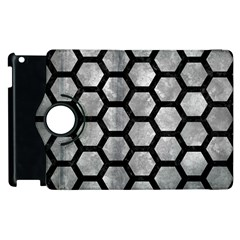 Hexagon2 Black Marble & Gray Metal 2 (r) Apple Ipad 2 Flip 360 Case by trendistuff