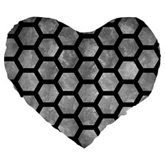 Hexagon2 Black Marble & Gray Metal 2 (r) Large 19  Premium Heart Shape Cushions by trendistuff