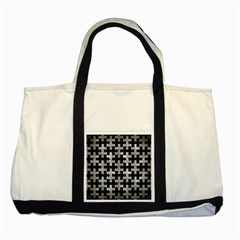 Puzzle1 Black Marble & Gray Metal 2 Two Tone Tote Bag by trendistuff