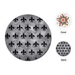 Royal1 Black Marble & Gray Metal 2 Playing Cards (round)  by trendistuff