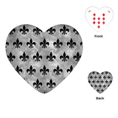 Royal1 Black Marble & Gray Metal 2 Playing Cards (heart)  by trendistuff