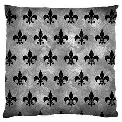 Royal1 Black Marble & Gray Metal 2 Large Cushion Case (one Side)