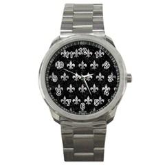 Royal1 Black Marble & Gray Metal 2 (r) Sport Metal Watch by trendistuff