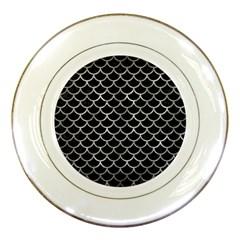 Scales1 Black Marble & Gray Metal 2 Porcelain Plates by trendistuff